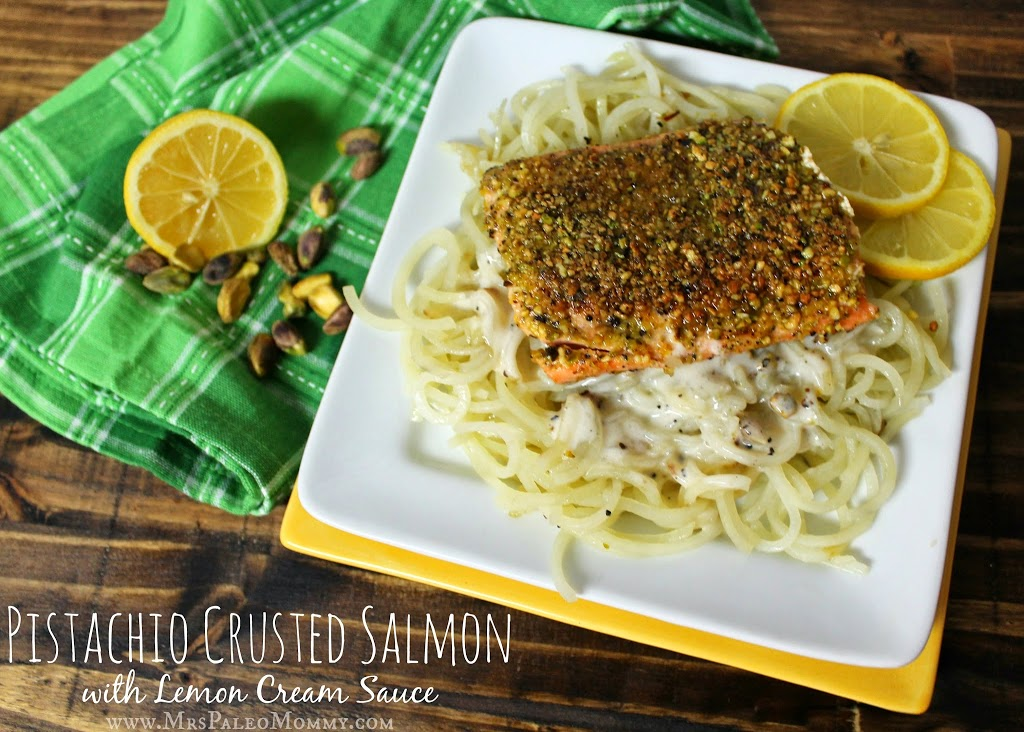 Pistachio Crusted Salmon with Lemon Cream Sauce over Potato Noodles -