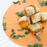 PALEO Creamy Roasted Tomato Basil Soup with Grilled Cheese Croutons