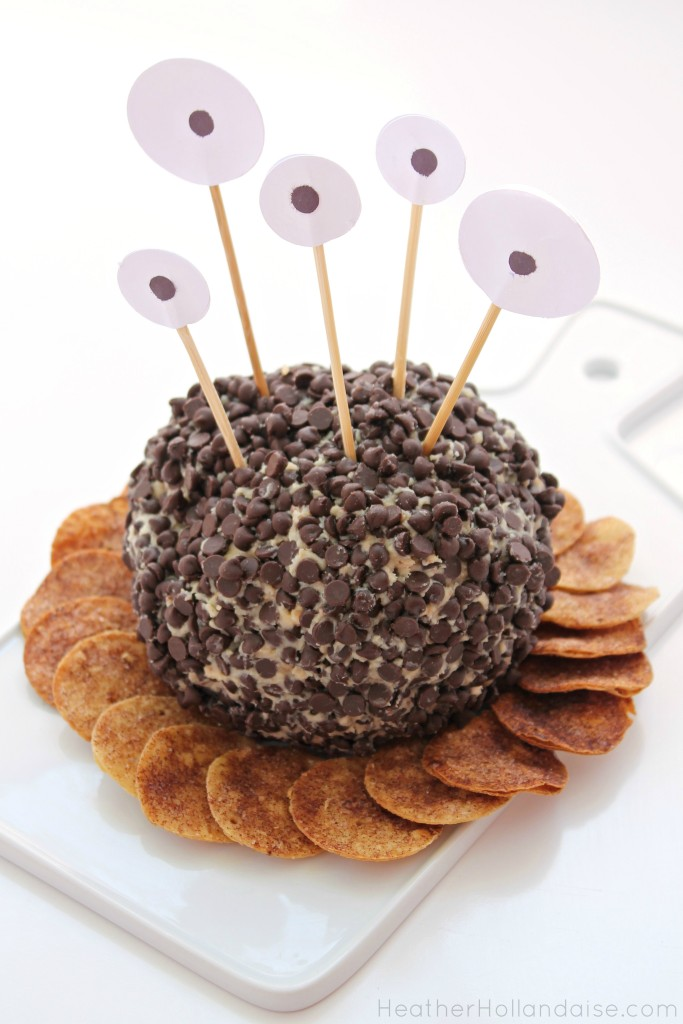 Peanut Butter Crunch Cheeseball Monster with Gluten Free Cinnamon Crisps
